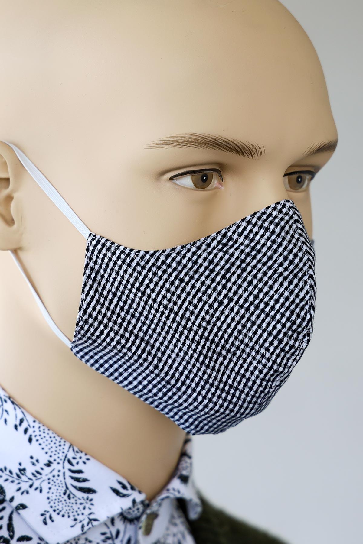 Mund-Nasen-Schutz schwarz kariert - Trachtenmode Hiebaum