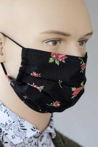 Mund-Nasen-Maske-schwarz-Rosen-1
